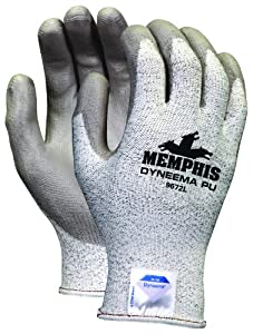 Memphis Glove 9672L Dyneema 13-Gauge Polyurethane Salt and Pepper Shell Gloves with Palm and Finger Coating, Gray, Large