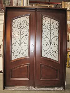 Double Front Entry Door Unit Pre Hung Finished W Iron With Frosted Gla