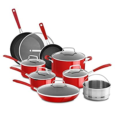 KitchenAid Nonstick 14-Piece Cookware Set, Red