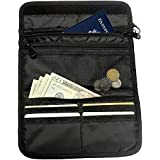 Travel Wallet Black Passport Holder Id Pouch and Safe Hidden Credit Card Money Pocket