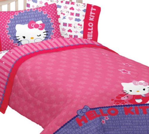 Hello Kitty Poodle Twin Comforter Sheets Bedding Set