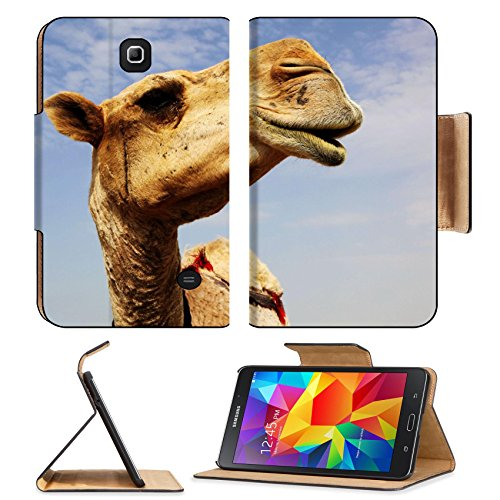 Liili Samsung Galaxy Tab 4 7.0 Inch Flip Pu Leather Case A close up view of the head of a dromedary camel against a slightly cloudy sky IMAGE ID 6025115