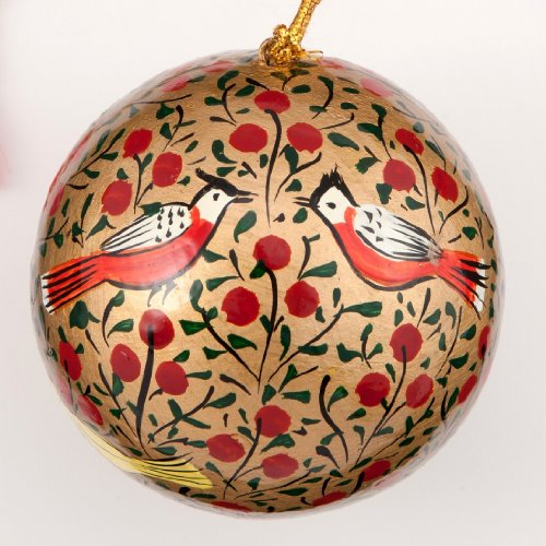 Handmade Gold and red bird Christmas Bauble Decoration