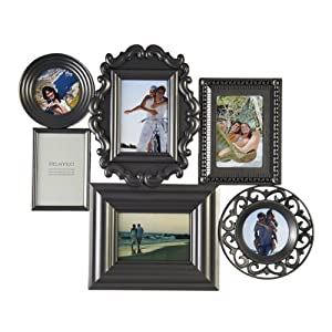 Melannco 6-Opening Collage Frame, 24 by 20-Inch, Pewter