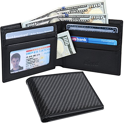 Mens Slim Front Pocket Wallet Carbon Fiber Bifold Wallet Durable RFID Blocking (Rfid Wallet Carbon compare prices)