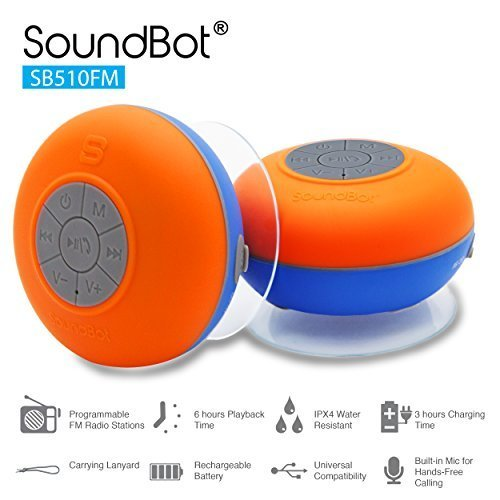 Buy SoundBot SB510FM FM RADIO Water Resistant Bluetooth Wireless 5W Shower Speaker HandsFree Portabl...