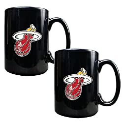 Miami Heat NBA 2pc Black Ceramic Mug Set - Primary Logo