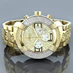 New! Aqua Master Large Round 20 Diamonds Yellow Gold Tone Watch