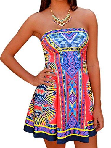 Choies Women's Strapless Mixed Folk Print Bohemian Beach A-line Dress M