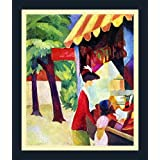 Before Hutladen (woman With A Red Jacket And Child) By Macke - ArtsNyou Printed Paintings - B00QA1FNFU
