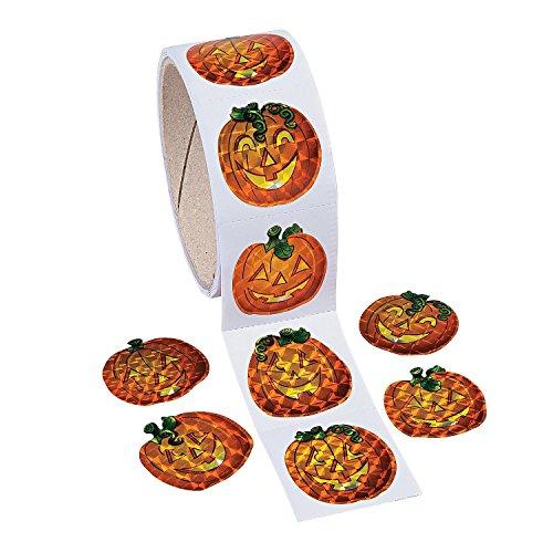 100 Prism Pumpkin Stickers Roll - Halloween Party Supplies