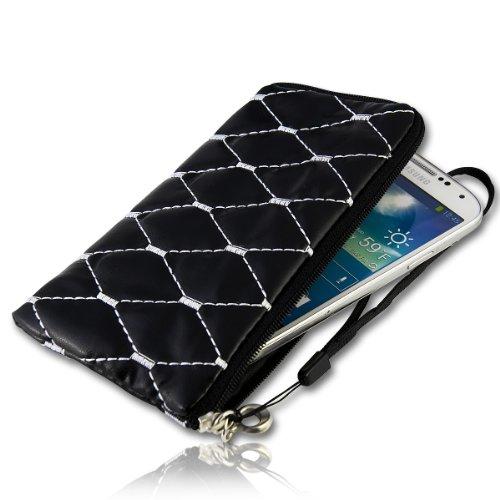 Handy Tasche Zipper Etui Hülle Case Schutz schwarz mit Karo Muster in silber S15 für für Samsung C3312 Rex60 / S5222R Rex80 / Galaxy Young S6310 / Galaxy Young Duos S6312 / Galaxy Pocket Plus S5301 / Samsung Galaxy Pocket Neo S5310 / Alcatel OT 903D / Alcatel OT Star 6010D