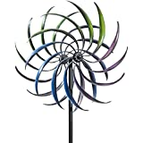 Bits and Pieces - Rainbow Wind Spinner-Decorative Lawn Ornament Wind Mill - Tri-Colored Kinetic Garden Windspinner - Unique Outdoor Lawn and Garden Décor