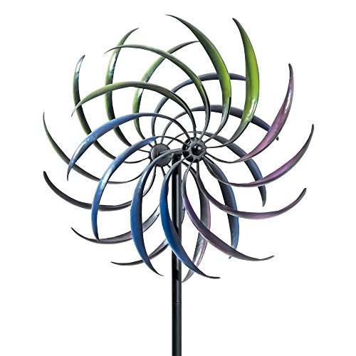 Rainbow Wind Spinner - Wind Mill - Tri-Colored Kinetic Garden Spinner