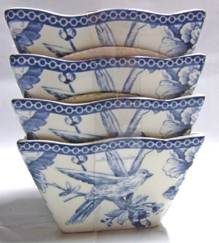 222 Fifth Adelaide Blue & White Square Fruit / Dipping Bowls, Set Of 4