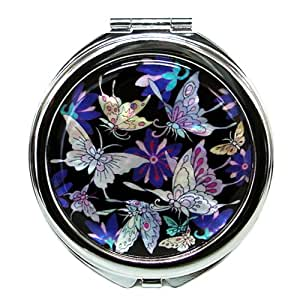 Antique Alive Mother of Pearl Blue Butterfly Design Double Compact Purse Mirror, 3.2 Ounce