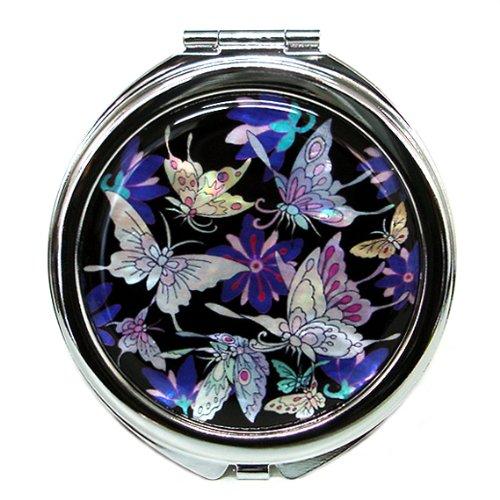 Specchio Compatto Doppio Blu in Madreperla Specchio da Borsa o Borsetta Con Motivo Farfalle