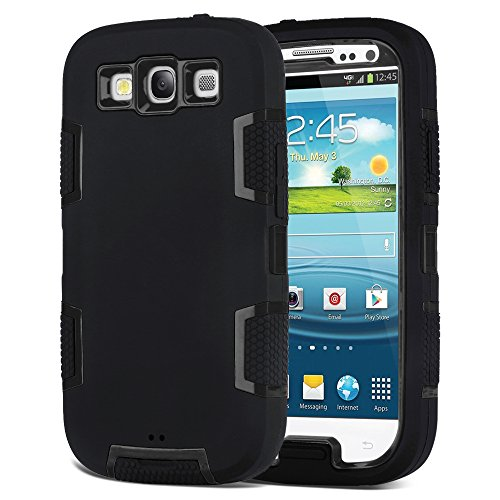 Galaxy S3 Case, S3 Case - ULAK Anti-slip 3in1 Shockproof S3 Case Hybrid Dust Scratch Shock Resistance Cover Rubber Combo Case for Samsung Galaxy S3 III i9300 [Rigid Plastic+Soft Silicone] (Black) (Samsung Galaxy S3 Phone Case compare prices)