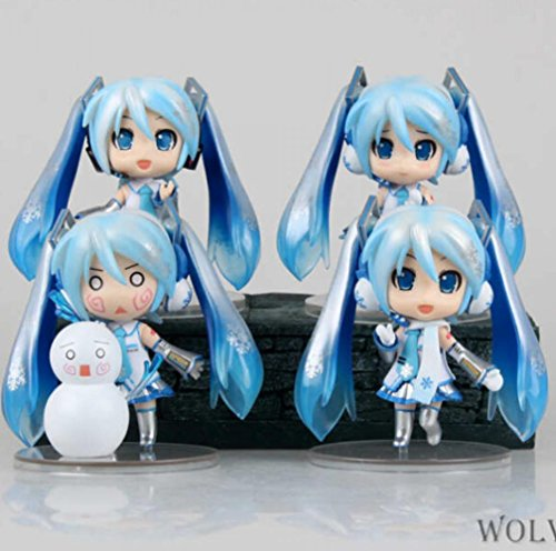 Rosy Women Vocaloid Hatsune Miku Lovely White Snow Q Version 1 Set Pvc Action Figures Collection Model Toys Doll 10Cm