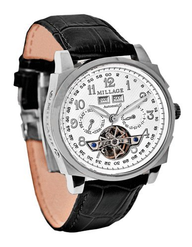 Millage Tourbillion Collection White on Silver On Black