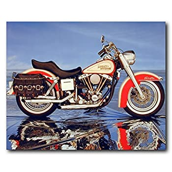 Vintage Motorcycle Harley Davidson Electra Glide Wall Decor Art Print Poster (16x20)