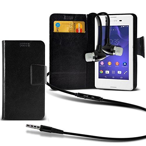 ( Black + Earphone ) Sony Xperia E3 Dual Sim Protective Stylish Fitted Super Thin Faux Leder Saugnapf Tasche Case Cover Skin mit Kredit- /Debitkarte Steckplätze mit Premium Qualität im Ohrhörer Stereo Freisprecheinrichtung Headset mit integriertem Mikrofon Mic und On-Off -Button von ONX3