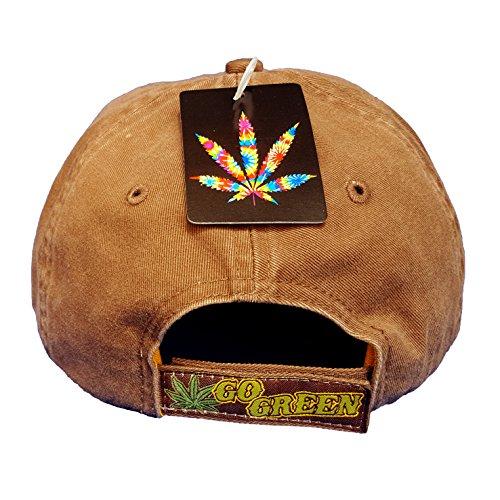 100-Organic-Marijuana-Leaf-Weed-MJ-Ganja-Baseball-Cap-Hats-Earthy-Tan-Cotton-Blend