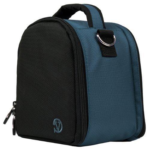 VanGoddy Laurel DSLR Camera Carrying Handbag for Nikon D5500 / D810A / D7200 / D750 / D810 / D4s / D3300 / Df / D5300 / D610 / D7100 Digital SLR Cameras + Screen Protector + Tripod Stand (Dark Blue)