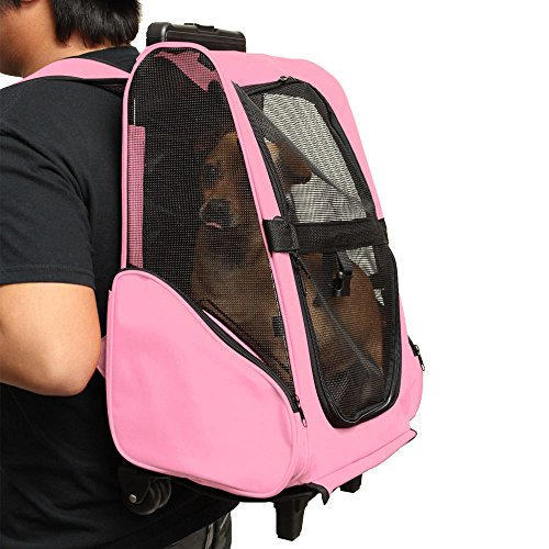 Oxgord Pink Pet Carrier Dog Cat Wheel Luggage Bag Approved Rolling Back Pack Travel Airline