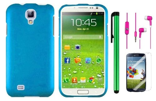 Samsung Galaxy S4 I9500 Accessory Combination - Premium Plain Color Protector Hard Cover Case / Screen Protector Film / 1 Random Color Handsfree Headset 3.5Mm Stereo Earphones / 1 Of New Metal Stylus Touch Screen Pen (Cool Blue)