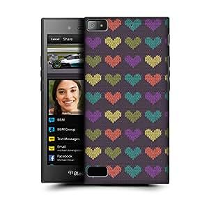 MobileGlaze Designs Knitted Heart Pattern Big Heart Hard Back Case Cover for BLACKBERRY Z3