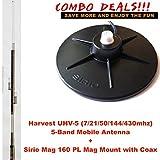 Combo: Harvest UHV-5 HF/VHF/UHF (7/21/50/144/430M) 5-band Antenna with Sirio Mag Mount