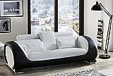 SAM® Design Sofa Vigo 3-Sitzer in weiß-schwarz mit bequemen verstellbaren