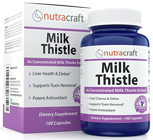 #1 Silymarin Milk Thistle Extract - 4x Concentrated 1000mg Milk Thistle Supplement for Liver Cleanse & Detox - Easy to Swallow - Made in USA - 100 Capsules - 100% Money Back Guarantee (Liver Purifier 5 compare prices)