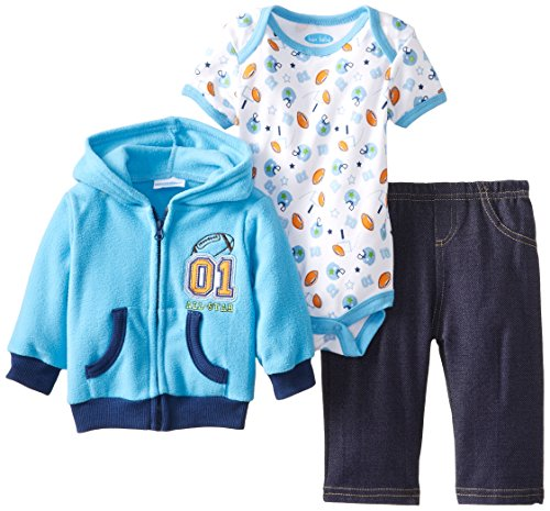Bon Bebe Babys Newborn All Star Micro Fleece Hooded Jacket Pant And Bodysuit Set, Multi, 3-6 Months front-1041579