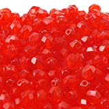 6mm Czech Faceted Round Glass Bead Light Siam 50pk