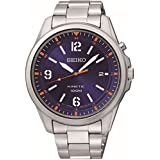 Seiko Men's Quartz Watch with Black Dial Analogue Display and Silver Stainless Steel SKA609P1 Kinetic