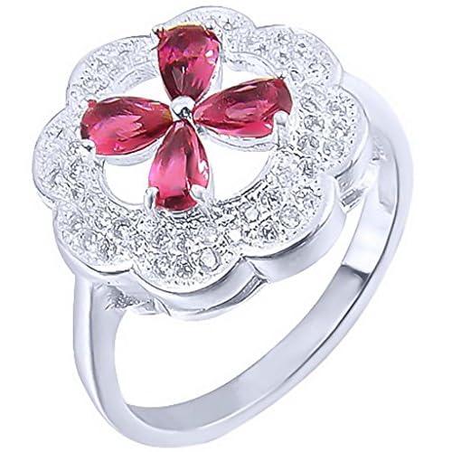 C-Princessリング 指輪 レディース クローバーモチーフ メッキ キラキラ 輝き エレガント アクセサリー 飾り 結婚式 レッド (18)