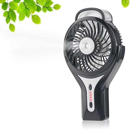 D-FantiX Portable Handheld Misting Fan Personal Cool Mist Humidifier Rechargeable Mini Fan Battery Operated/USB Powered USB Misting Humidifier for Home and Travel (Black)