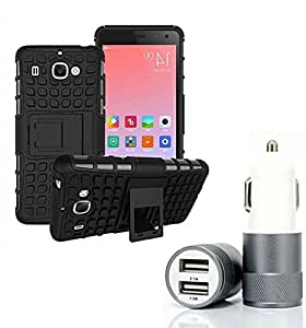 Aart Hard Dual Tough Military Grade Defender Series Bumper back case with Flip Kick Stand for Samsung S7 + Car Charger With 2 Fast Charging USB Ports by Aart Store.