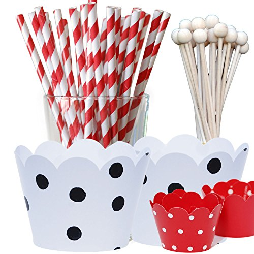 Dalmatians Theme Birthday Party Supply Pack, Black and White with Red, Polka Dot Decorations, Confetti Couture Party Supplies, 96 pcs