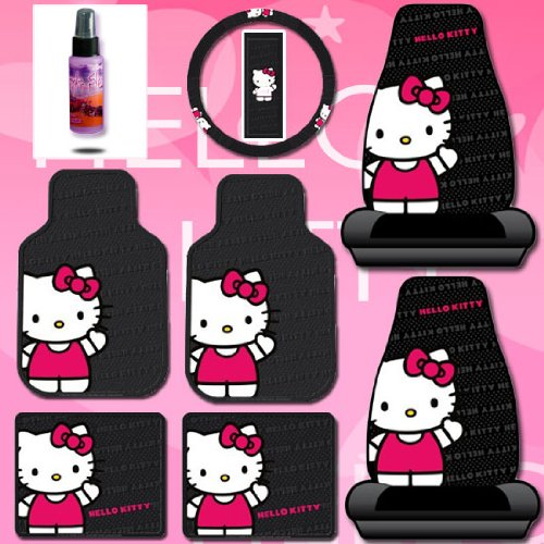 New-Design-8-Pieces-Hello-Kitty-Car-Seat-Cover-with-4-Rubber-Mats-Steering-Wheel-Cover-and-Purple-Slice-Set