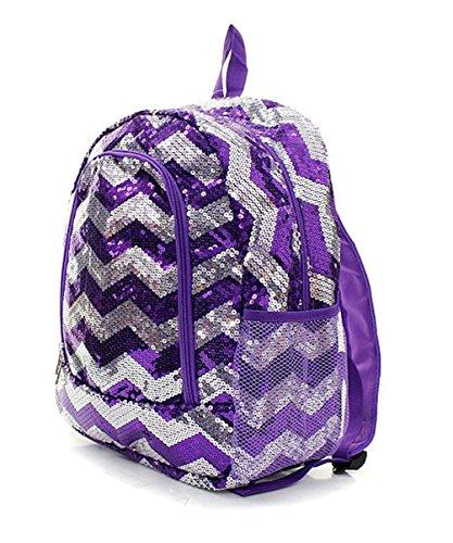 Children's Purple Chevron Sequin Bling School Backpack