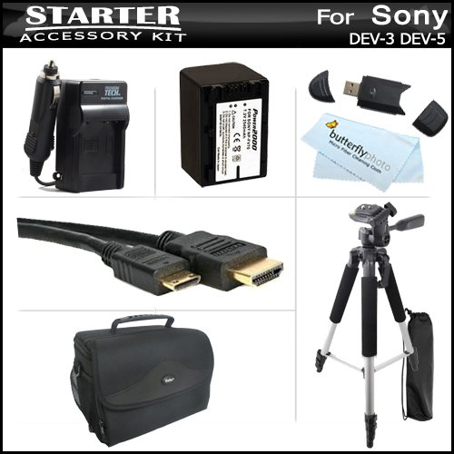 Essential Accessories Kit For Sony Dev-3, Sony Dev-5 Digital Recording Binoculars Includes Extended Replacement (2300Mah) Np-Fv70 Battery + Ac/Dc Charger + Pro Rugged Case / Bag + Mini Hdmi Cable + 57 Tripod + Usb 2.0 Card Reader + Microfiber Cloth