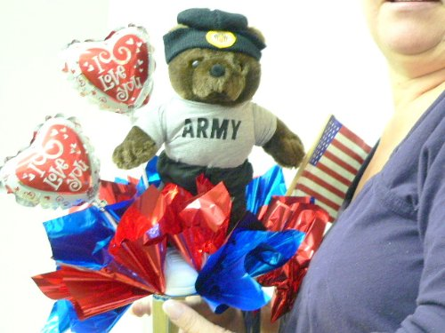 12-inches Tall U.S. ARMY LOVE THEME TEDDY BEAR BALLOON BOUQUET -- PEEFECT FOR VALENTINES DAY - OR ANY DAY