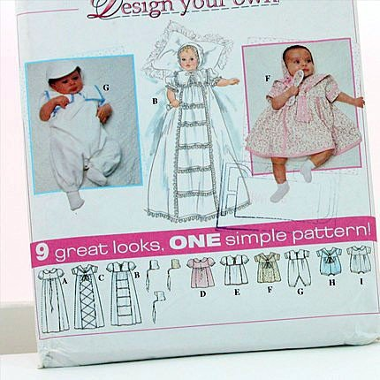 UNCUT & OOP SIMPLICITY 7024 DESIGN YOUR OUN CHRISTENING DRESS, BABIES DRESSES, ROMPERS & BONNET SEWING PATTERN SIZE: A (NB,S,M,L)