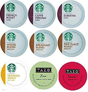 18 Count - Variety Pack Of Starbucks Coffee Tazo Tea K-cups For Keurig Brewers 9 Flavors