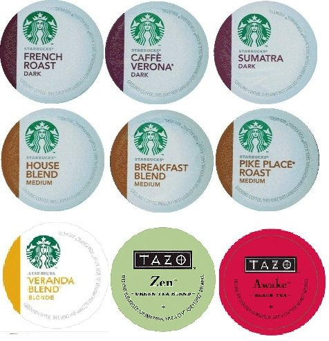 18 Count - Variety Pack of Starbucks Coffee & Tazo Tea K-Cups for Keurig Brewers (9 Flavors)