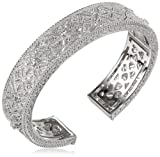 Judith Ripka Estate Sterling Silver Medium-Width White Sapphire Cuff Bracelet, 2.5″