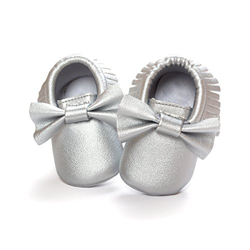 DESDEMONA Bow PU Leather Baby Boy Girl Infant Toddler Pre-walker Crib Shoes (XS(4.5inches), Silver)